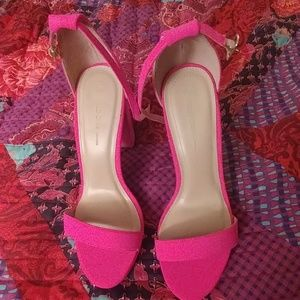 Hot Pink Chunky Heel Sandals